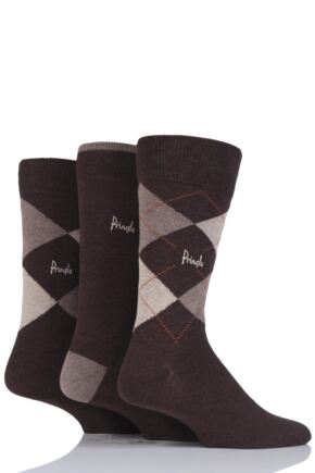 Mens 3 Pair Pringle New Waverley Argyle Patterned and Plain Socks Browns