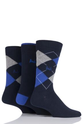 Mens 3 Pair Pringle New Waverley Argyle Patterned and Plain Socks Navy