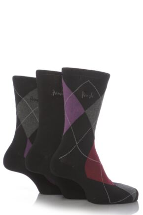 Mens 3 Pair Pringle Strathaven Argyle Design Cotton Socks