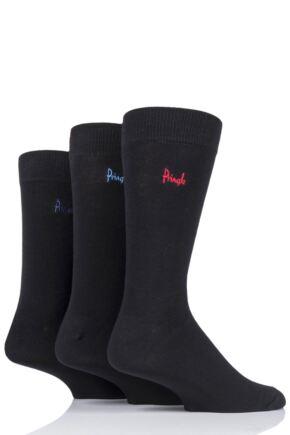 Mens 3 Pair Pringle Plain Rupert Bamboo Socks Black 7-11 Mens