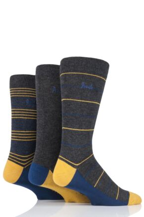 Mens 3 Pair Pringle Connor Striped Bamboo Socks
