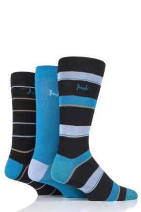 Mens 3 Pair Pringle Hayden Striped Bamboo Socks Black 7-11 Mens