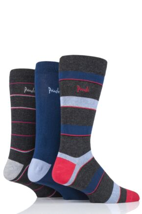 Mens 3 Pair Pringle Hayden Striped Bamboo Socks