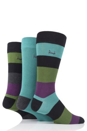 Mens 3 Pair Pringle Dean Striped Bamboo Socks
