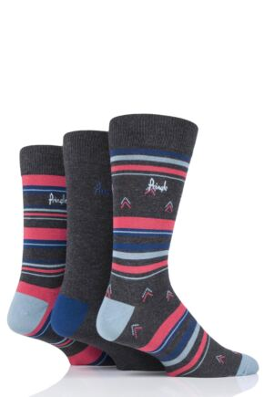 Mens 3 Pair Pringle Dustin Striped Bamboo Socks