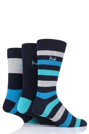 Mens 3 Pair Pringle Mike Striped Bamboo Socks