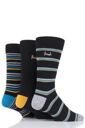Mens 3 Pair Pringle Lucas Striped Bamboo Socks Black 7-11 Mens