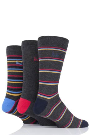 Mens 3 Pair Pringle Lucas Striped Bamboo Socks Grey 7-11 Mens