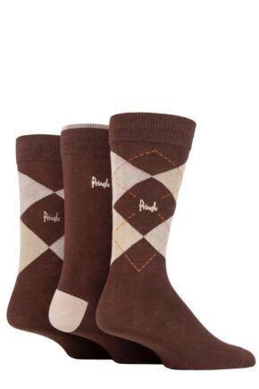Mens 3 Pair Pringle Bamboo Cotton Blend Argyle Socks Brown / Beige / Light Brown 7-11