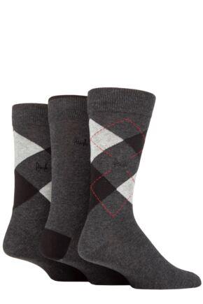 Mens 3 Pair Pringle Bamboo Cotton Blend Argyle Socks Charcoal / Black / Light Grey 7-11
