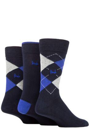 Mens 3 Pair Pringle Bamboo Cotton Blend Argyle Socks