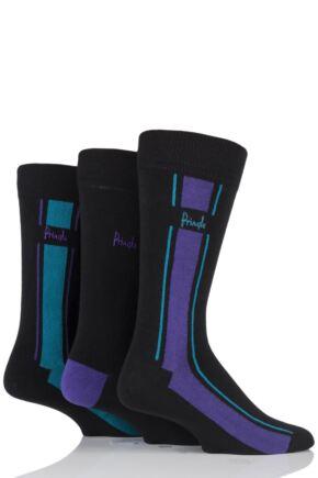 Mens 3 Pair Pringle Ballater Vertical Stripe Cotton Socks Black Mix