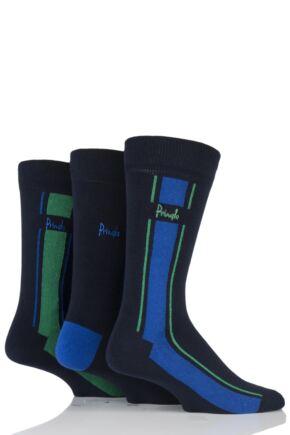 Mens 3 Pair Pringle Ballater Vertical Stripe Cotton Socks Navy