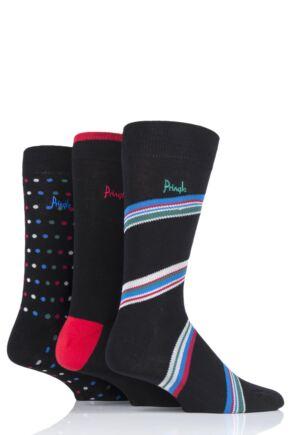 Mens 3 Pair Pringle Blairgowrie Patterned Cotton Socks