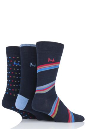 Mens 3 Pair Pringle Blairgowrie Patterned Cotton Socks Navy 7-11 Mens