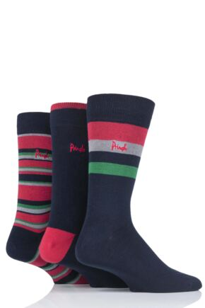 Mens 3 Pair Pringle Breamar Patterned Cotton Socks