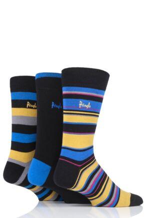 Mens 3 Pair Pringle Caithness Patterned Cotton Socks Black 7-11 Mens