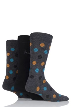 Mens 3 Pair Pringle Caithness Spots and Plain Cotton Socks