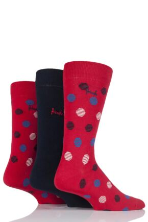 Mens 3 Pair Pringle Caithness Spots and Plain Cotton Socks Red 7-11