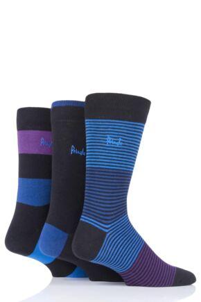 Mens 3 Pair Pringle Mixed Stripe and Plain Cotton Socks Black 7-11 Mens