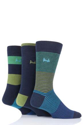 Mens 3 Pair Pringle Mixed Stripe and Plain Cotton Socks