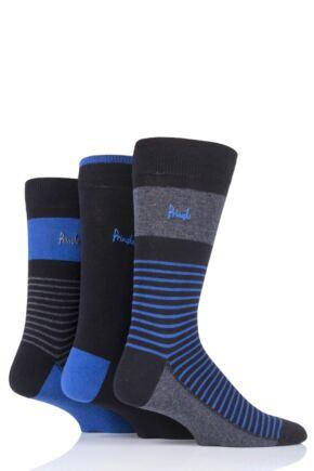 Mens 3 Pair Pringle Small Stripe and Plain Cotton Socks