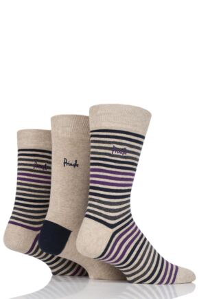 Mens 3 Pair Pringle Crieff Multi Stripe and Plain Cotton Socks Beige 7-11