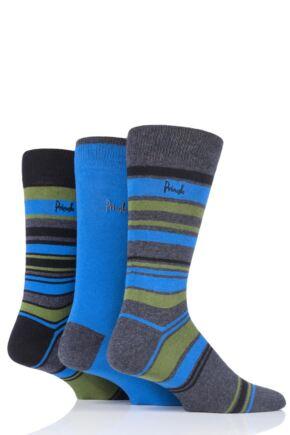 Mens 3 Pair Pringle Multi Stripe and Plain Cotton Socks