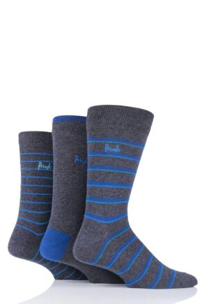 Mens 3 Pair Pringle Fine Stripe and Plain Cotton Socks