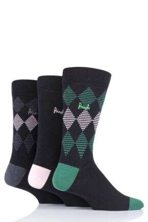 Mens 3 Pair Pringle Argyle and Plain Cotton Socks