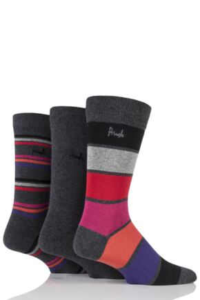 Mens 3 Pair Pringle Clarkston Bright Stripe Cotton Socks Charcoal 7-11 Mens