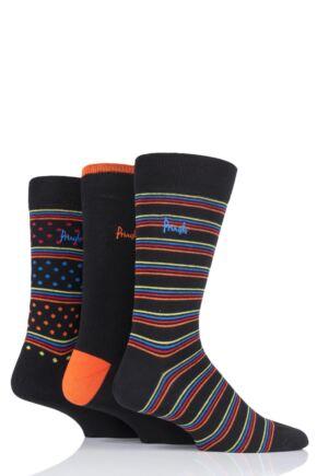 Mens 3 Pair Pringle Varied Stripe and Plain Cotton Socks