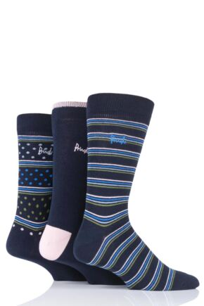 Mens 3 Pair Pringle Varied Stripe and Plain Cotton Socks