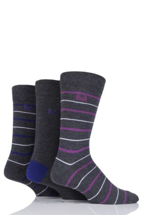 Mens 3 Pair Pringle Striped Cotton Socks