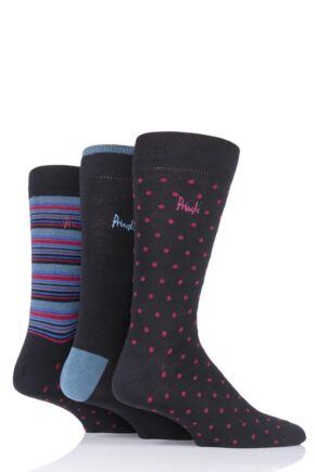 Mens 3 Pair Pringle Shane Dots Plain and Stripe Cotton Socks