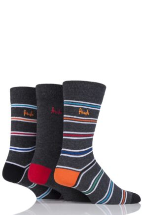 Mens 3 Pair Pringle Laurencekirk Striped Cotton Socks
