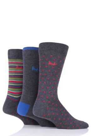 Mens 3 Pair Pringle Shane Dots Plain and Stripe Cotton Socks