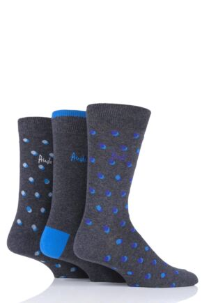 Mens 3 Pair Pringle Elliot Dots and Plain Cotton Socks