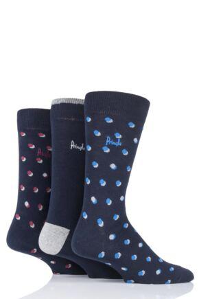 Mens 3 Pair Pringle Elliot Dots and Plain Cotton Socks