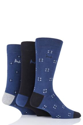 Mens 3 Pair Pringle Darren Squares and Plain Cotton Socks