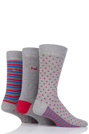 Mens 3 Pair Pringle Melrose Dot and Stripe Cotton Socks