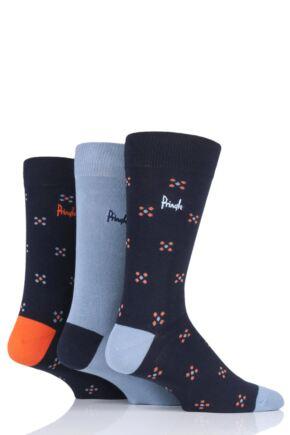 Mens 3 Pair Pringle Darren Squares and Plain Cotton Socks