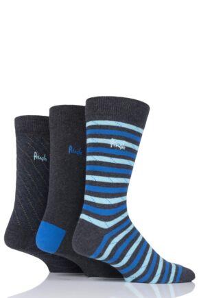 Mens 3 Pair Pringle Alloa Stripe and Plain Cotton Socks