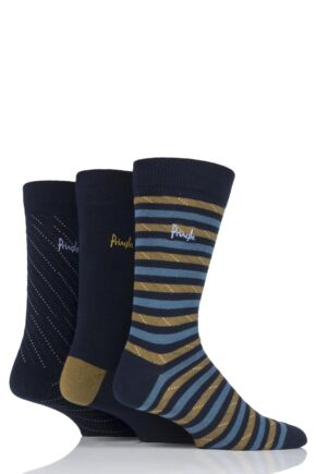 Mens 3 Pair Pringle Alloa Stripe and Plain Cotton Socks