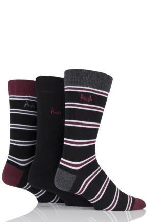 Mens 3 Pair Pringle Kentallen Double Stripe Cotton Socks Black Mix 7-11 Mens