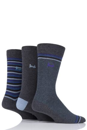 Mens 3 Pair Pringle Kentallen Stripe Dots and Plain Cotton Socks