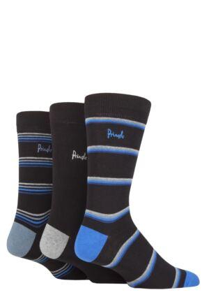 Mens 3 Pair Pringle New Waverley Argyle Patterned and Plain Socks Black Stripe 7-11