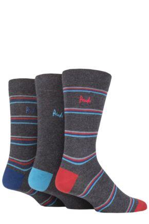 Mens 3 Pair Pringle New Waverley Argyle Patterned and Plain Socks Charcoal Stripe 7-11