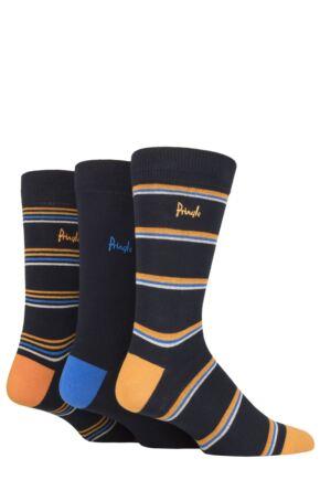 Mens 3 Pair Pringle New Waverley Argyle Patterned and Plain Socks Navy Stripe 7-11