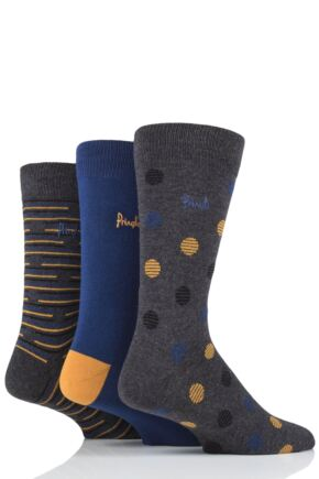 Mens 3 Pair Pringle Tommy Spots and Stripe Cotton Socks Charcoal 7-11 Mens